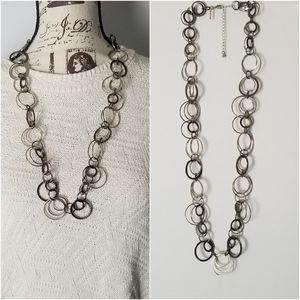 🐧Daisy Fuentes Circle Link Mixed Metal Necklace